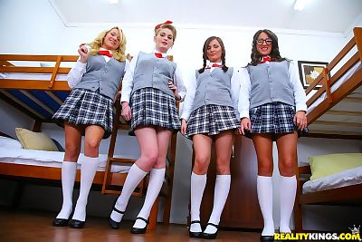 Naughty schoolgirls pull up..