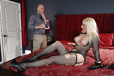 Teen blonde in stockings..