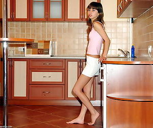 Teenage cutie Eva gets rid..