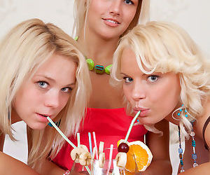 Three young blonde girls..